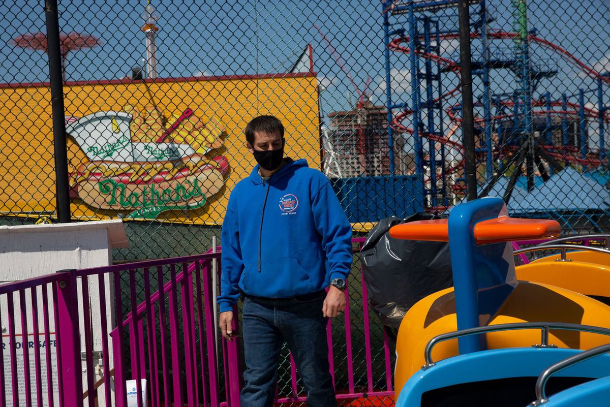 Denos Vourderis inspects rides at Coney Island's Deno's Wonder Wheel Amusement Park, which his family has run for more than 30 years.