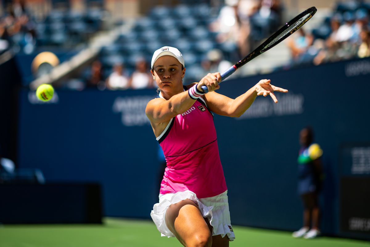 Ashleigh Barty of Australia celebrates during her match against Zarina Diyas of Kazakhstan on Arthur Ashe Stadium in the first round of the US Open at the USTA Billie Jean King National Tennis Center on August 26, 2019 in New York City.