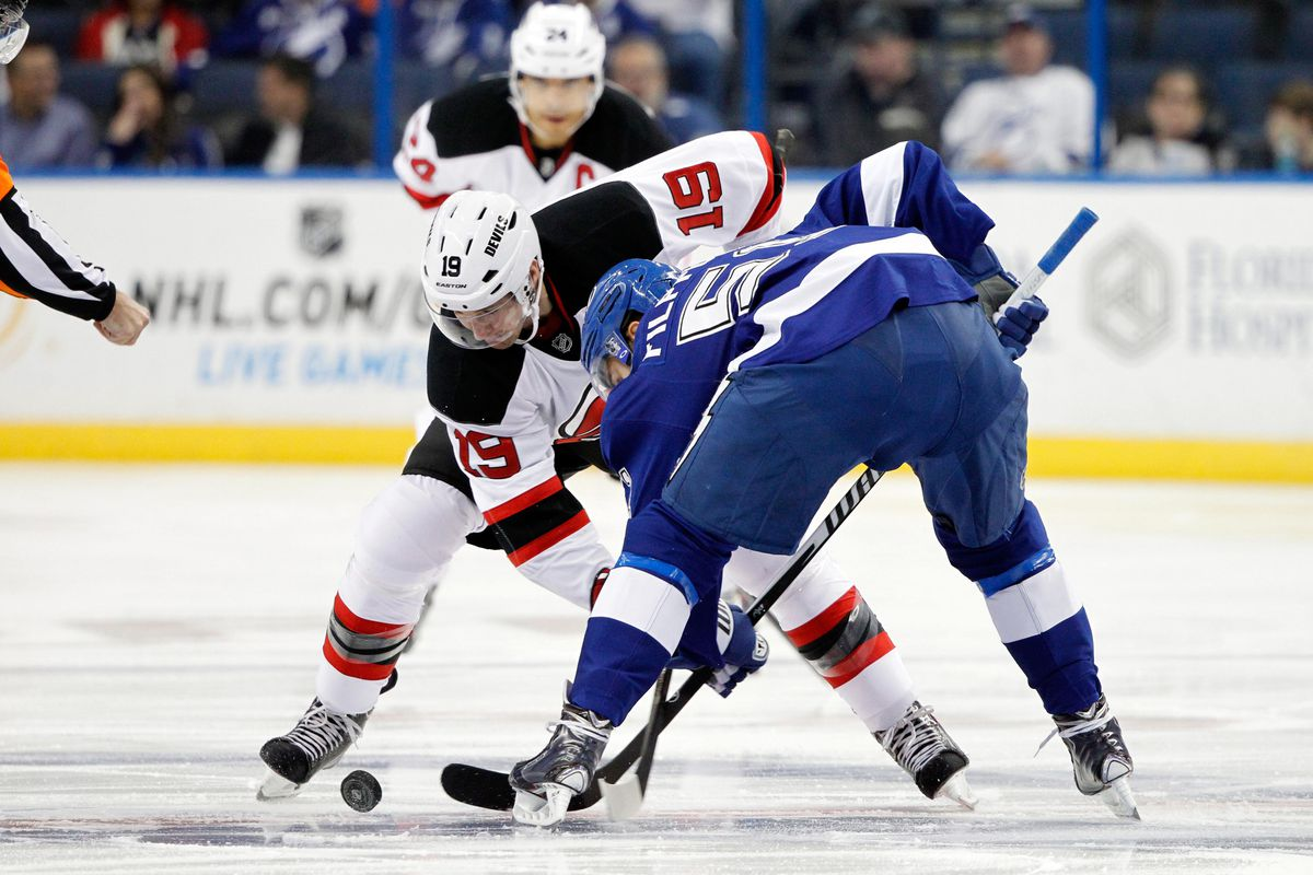 Back when the Devils were winning games...this faceoff happened.