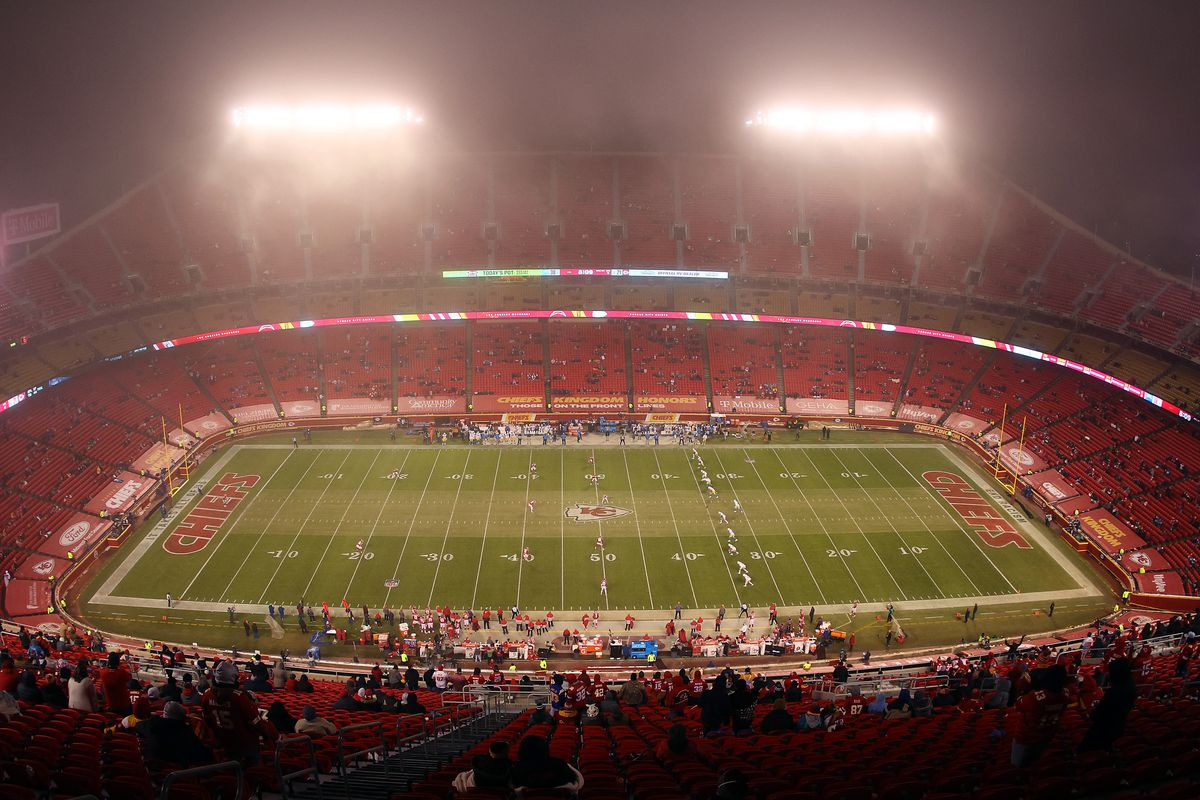 A general view as fog envelops the field during the 2nd half of the game between the Los Angeles Charges and the Kansas City Chiefs at Arrowhead Stadium on January 03, 2021 in Kansas City, Missouri.
