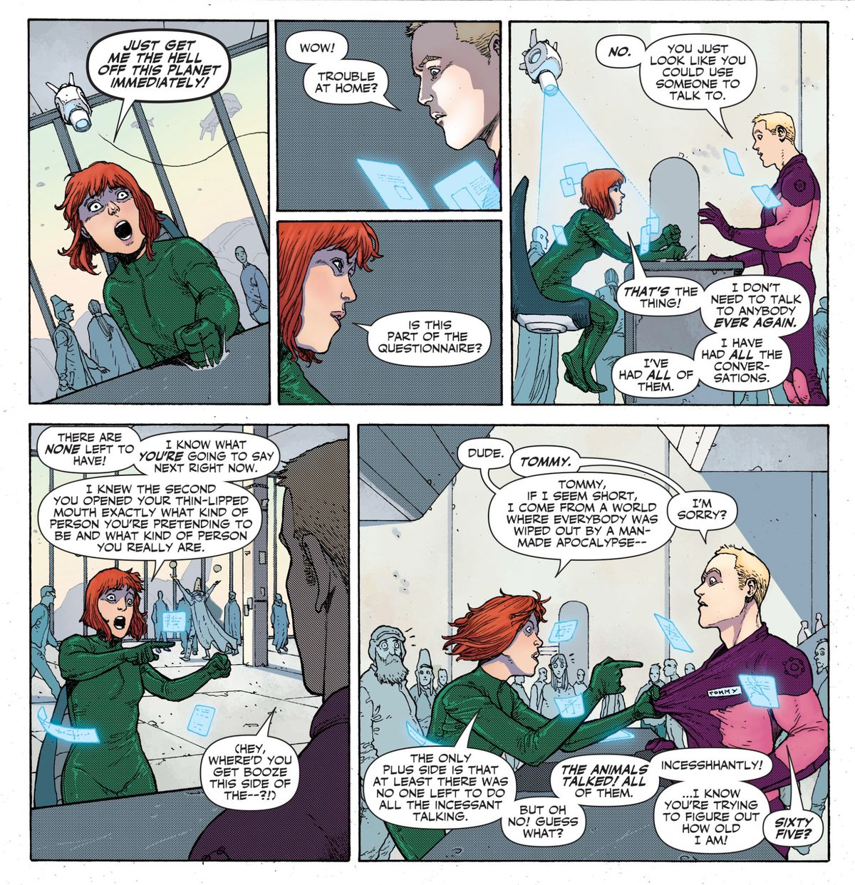 The immortal Rose Thorn feverishly peppers a future office worker with questions about how to get off Earth, in Legion of Super-heroes: Millennium #1, DC Comics (2019).
