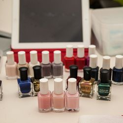 Polish options include Essie, OPI, Deborah Lippman, and (for $3 extra) Chanel.