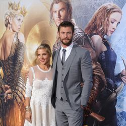 Chris Hemsworth and wife in a three-piece Dolce and Gabbana suit.