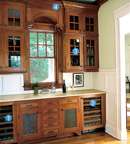"""<p><strong>RED OR WHITE?</strong><br>The idea here: Build a 7-foot-wide bar that opens to the great room and looks like a polished piece of furniture. One Sub-Zero wine cooler is regulated for red (1), while the other is strictly for white (2). Greenwich, Connecticut, architect Jay Haverson ran glossy cherry cabinetry the length of the wall (3), but didn't go up to the ceiling (4). """"Leaving space for the exposed beams gives it that furniture effect,"""" he says.</p>"""