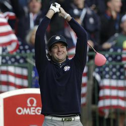 USA's Bubba Watson stretches on the first tee during a foursomes match at the Ryder Cup PGA golf tournament Saturday, Sept. 29, 2012, at the Medinah Country Club in Medinah, Ill.