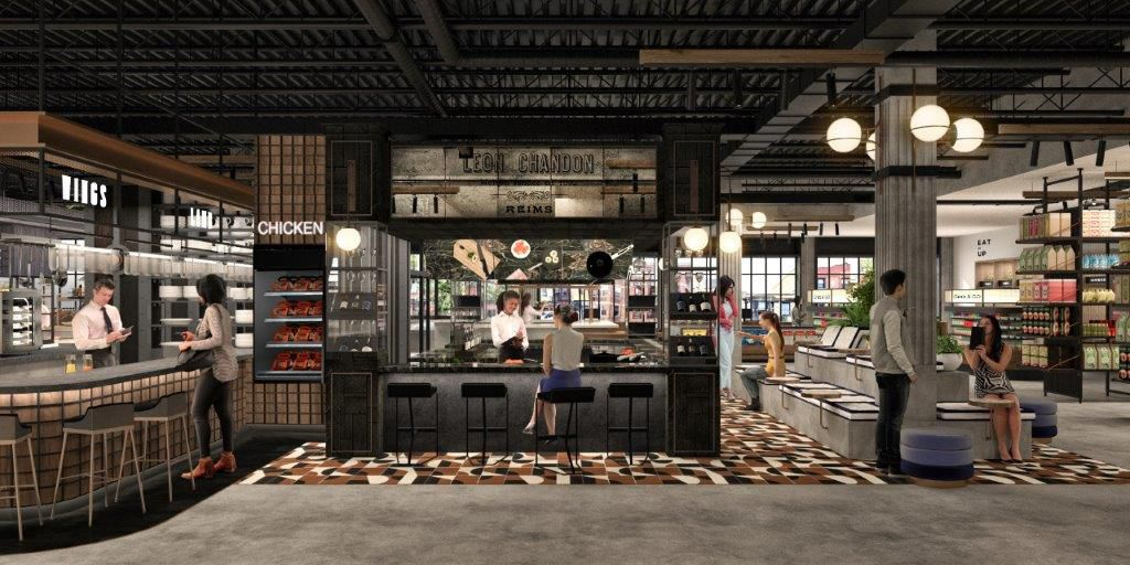 A rendering of several food stalls inside a grocery store space.
