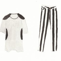 Left to right: Pc. Space quilted sweat tunic dress, $88; Rekiem stripe pants, $104.