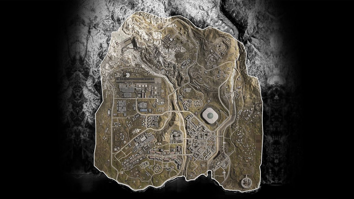 An aerial view of the Call of Duty Warzone map looks very much like colorized satellite imagery.