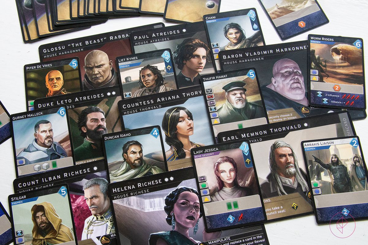 Large player cards, which serve as sideboard during play, interleaved with characters from the other decks of cards that come with Dune: Imperium.