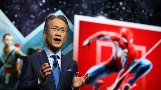 Kenichiro Yoshida, Sony's president and CEO, speaks during the company's press briefing at CES 2019.