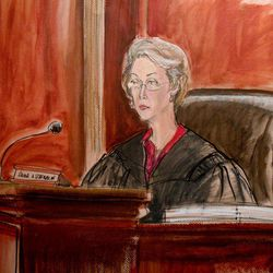 In this courtroom drawing, Judge Shira A. Scheindlin listens to proceedings from the bench during the sentencing of arms Russian dealer Viktor Bout, Thursday, April 5, 2012, in New York. Scheindlin sentenced Bout to 25 years in prison on terrorism charges that grew from a U.S. sting operation.