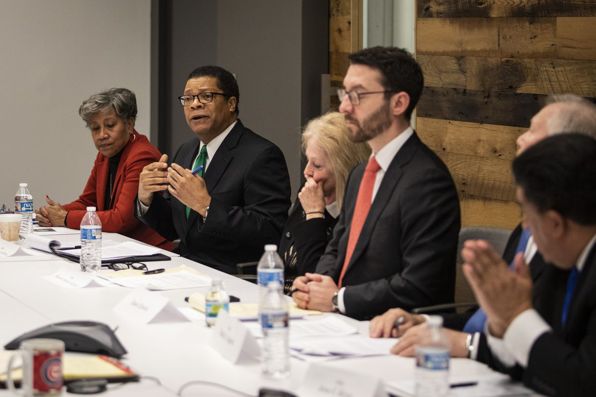 Supreme Court candidates, left to right, Cynthia Y. Cobbs, Nathaniel Roosevelt Howse, Margaret Stanton McBride, Daniel Epstein, Shelly A. Harris and Jesse G. Reyes.
