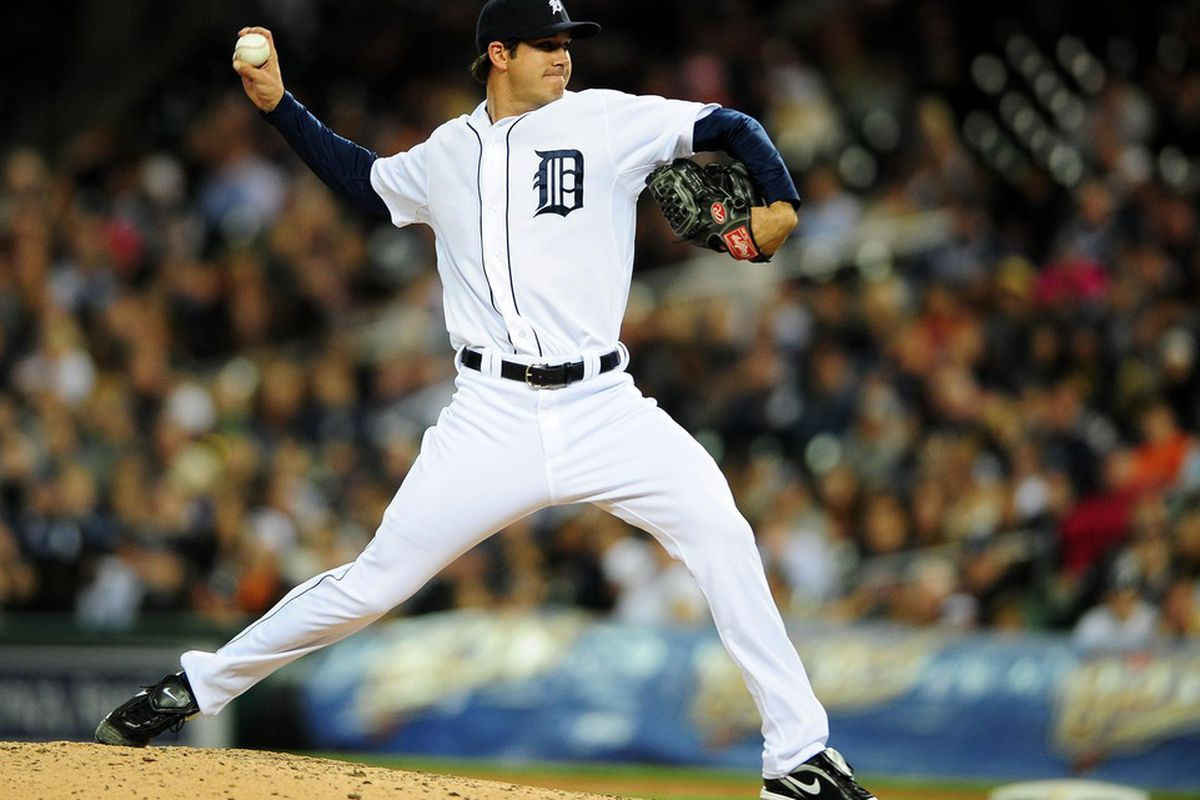 May 16, 2012; Detroit, MI, USA; Detroit Tigers relief pitcher Luke Putkonen (36) against the at Comerica Park. Mandatory Credit: Andrew Weber-US PRESSWIRE
