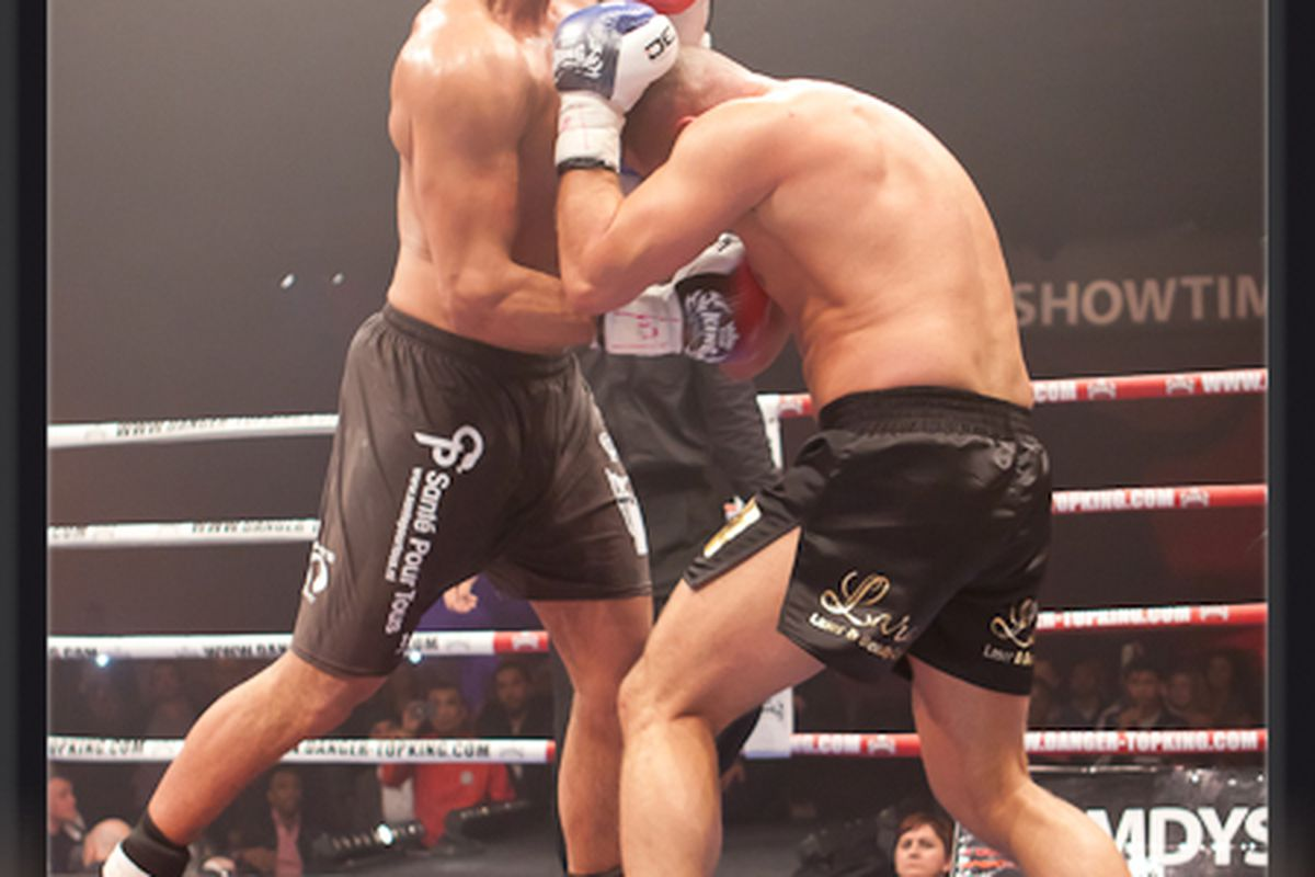 """Badr Hari lands an uppercut on Gokhan Saki. Photo via <a href=""""http://www.itsshowtime.nl/index.php?p=media&eventid=1240&tab=0"""">It's Showtime</a>."""
