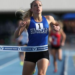Bingham's Whitney Rich wins the 5A 1600 meters as Utah High School Girls compete in state track at BYU in Provo on Friday, May 19, 2017.