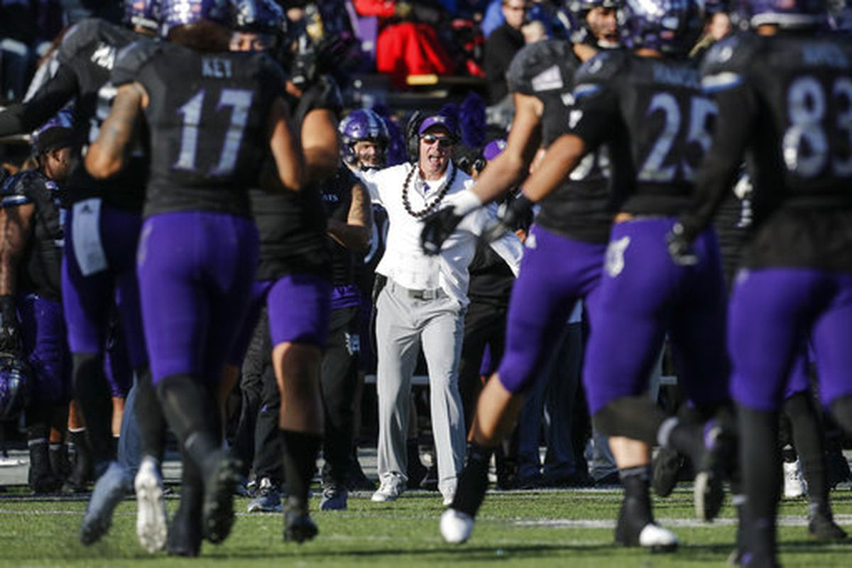 Weber State head coach Jay Hill reacts after a play during game against Idaho State on Saturday, Nov. 18, 2017 in Ogden, Utah. (Matt Herp/Standard-Examiner via AP)