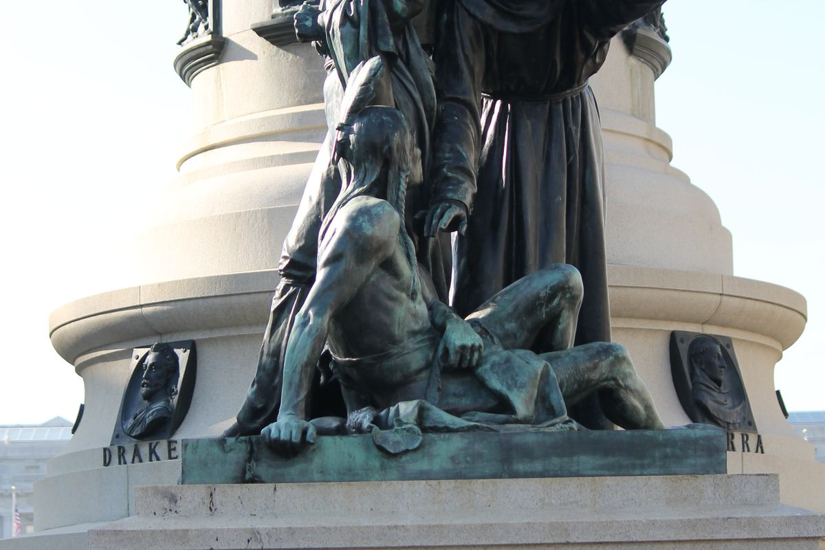 Part of the Pioneer Monument statue.
