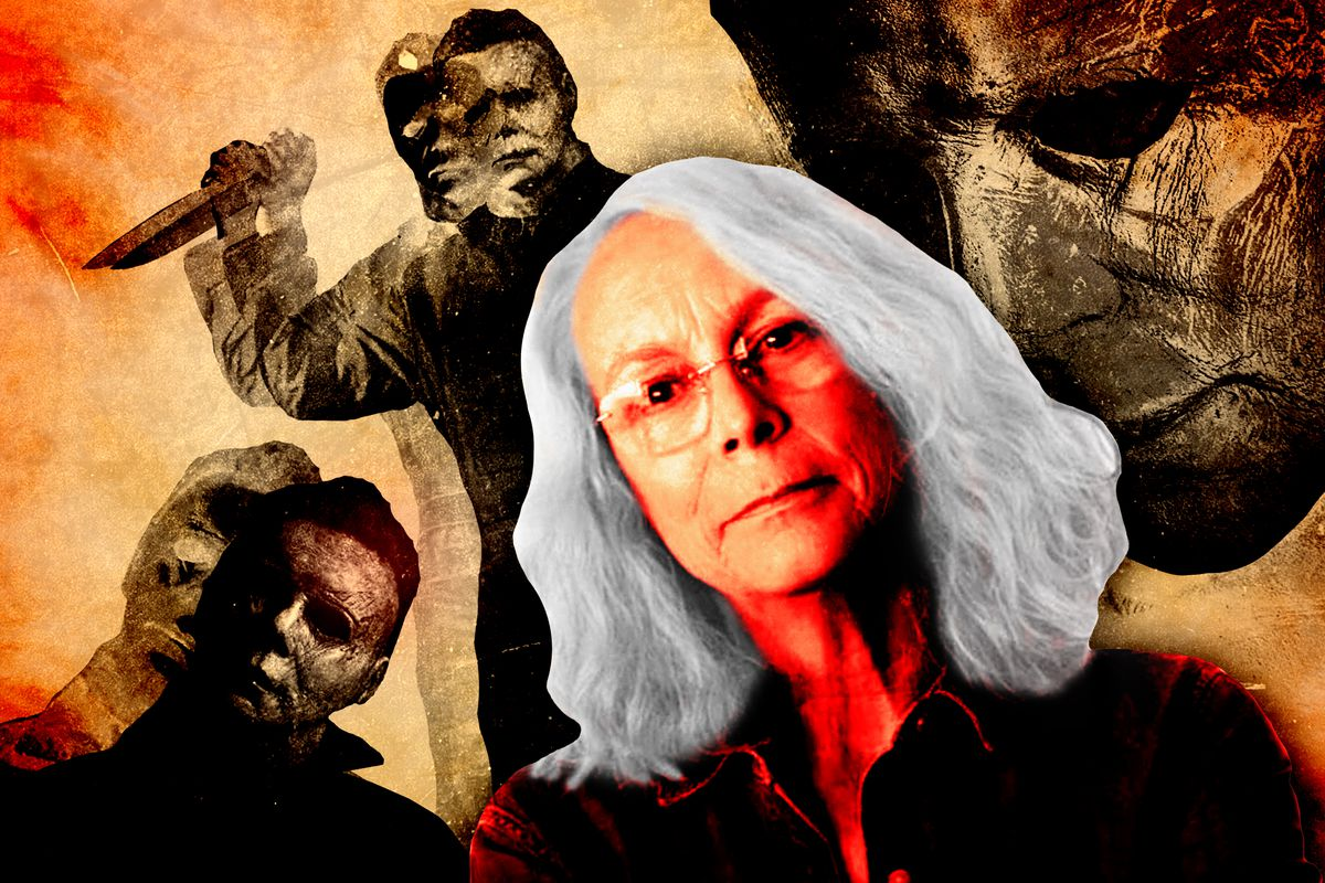 Jamie Lee Curtis as Laurie Strode surrounded by different images of Michael Myers