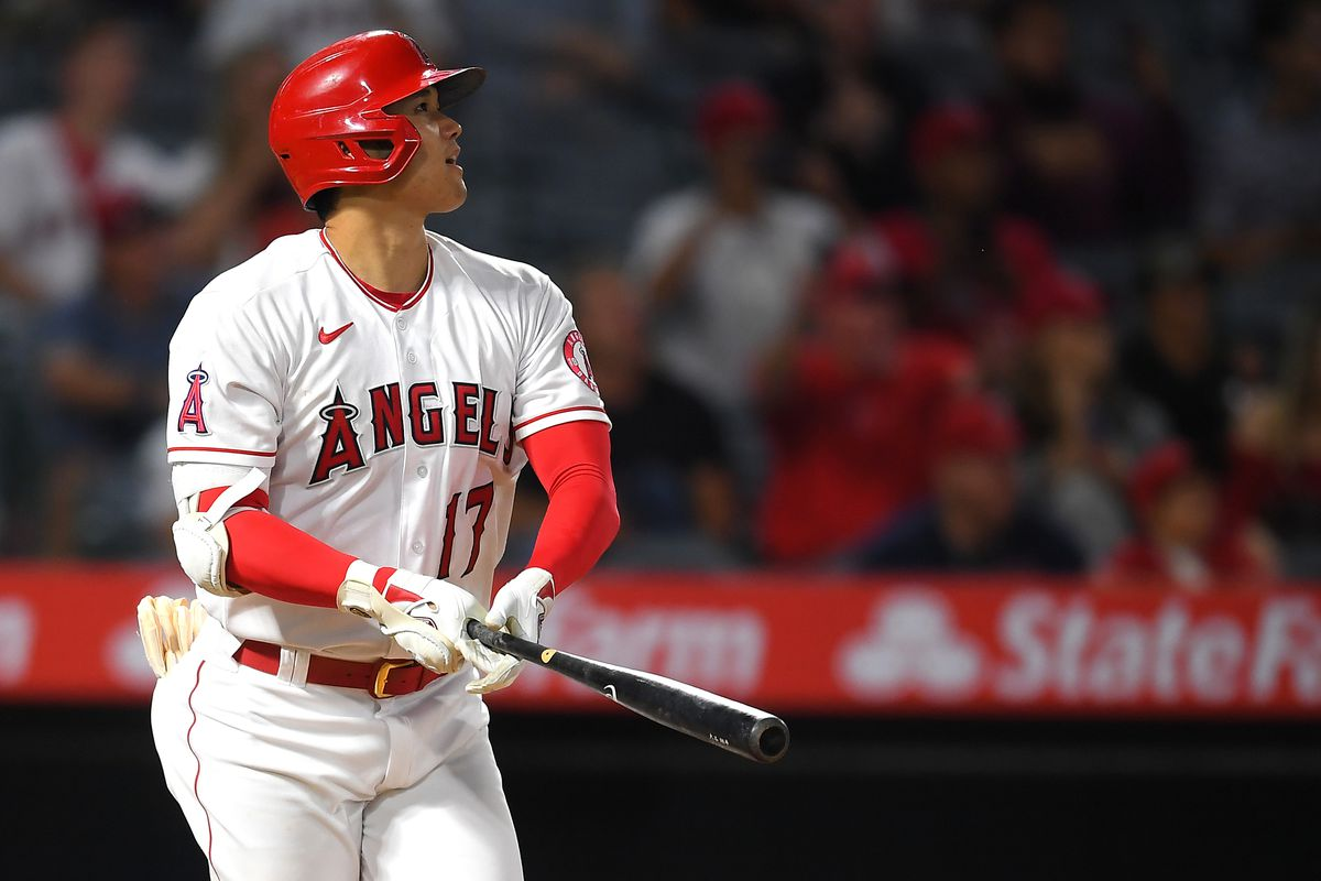 Shohei Ohtani #17 of the Los Angeles Angels hits his second home run of the game, a solo shot in the eighth against the Detroit Tigers at Angel Stadium of Anaheim on June 18, 2021 in Anaheim, California.