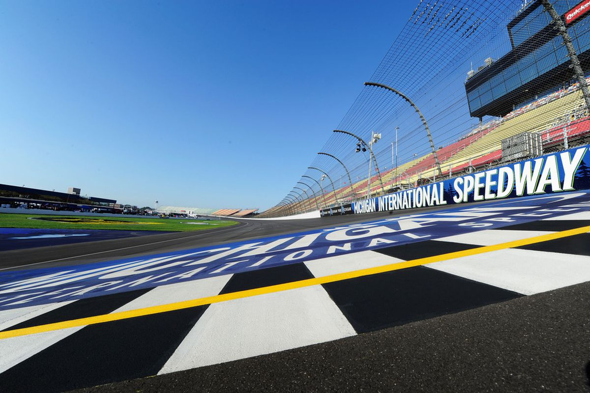 BROOKLYN, MI - JUNE 15:  A general view of the fronstretch prior to practice for the Alliance Truck Parts 250 at Michigan International Speedway on June 15, 2012 in Brooklyn, Michigan.  (Photo by John Harrelson/Getty Images for NASCAR)