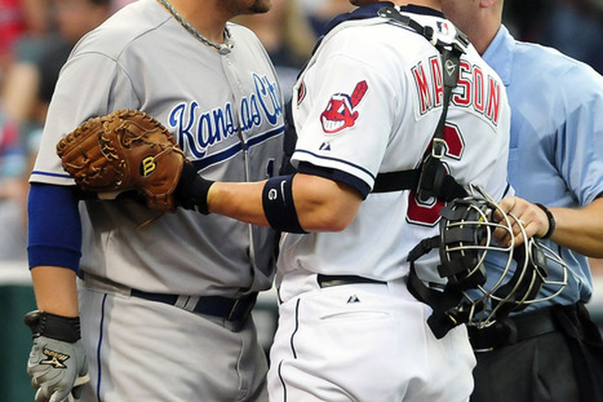 Billy Butler is telling Lou Marson that he belongs in the All-Star Game (Photo by Jason Miller/Getty Images)