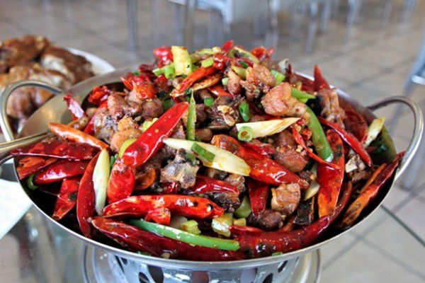 A bowl packed with spicy peppers at Seven Stars Pepper.