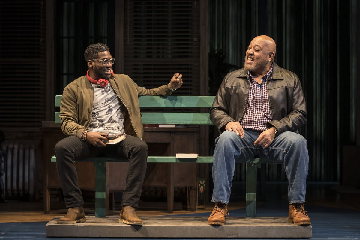 """Bernard Gilbert (as Stokes, left) and Keith Randolph Smith (as Griffin) in the world premiere of """"How to Catch Creation"""" by Christina Anderson directed by Niegel Smith at the Goodman Theatre.   Liz Lauren"""