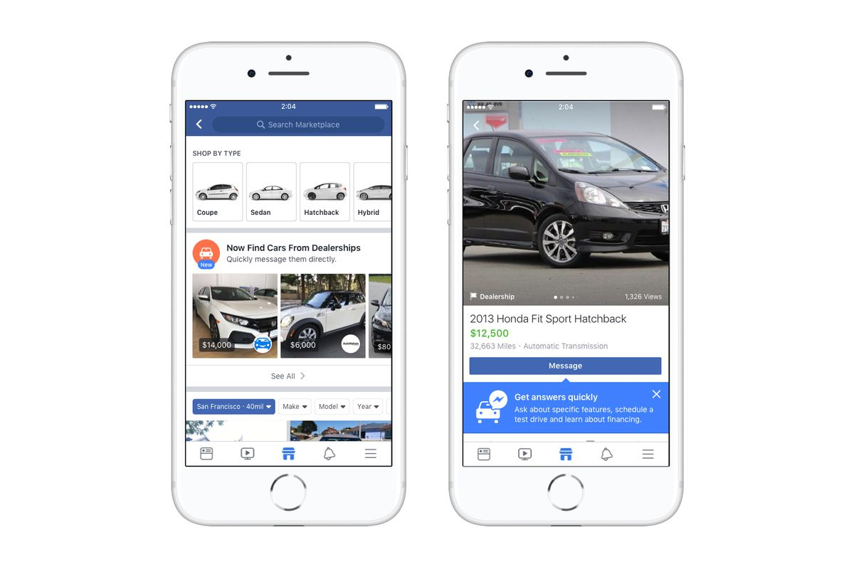 Facebook Inc (FB) Unveils Marketplace Section For New Cars