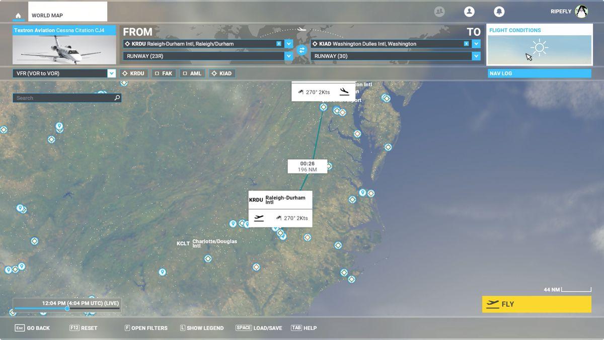 Microsoft Flight Simulator VOR flight plan