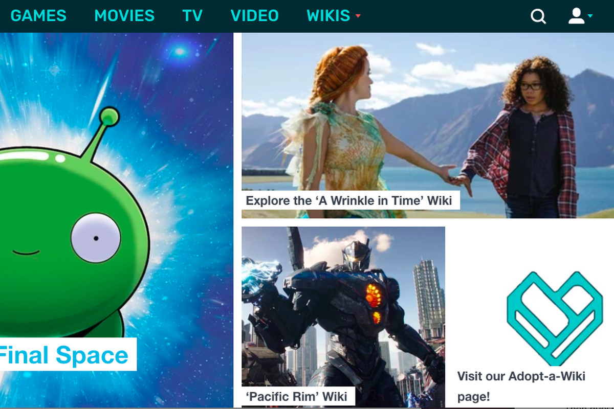 """A screenshot of the website Fandom, showing a still from the movie """"A Wrinkle in Time,"""" a picture of a mechanical giant from """"Pacific Rim"""" and a drawing of a little green alien from """"Final Space."""""""