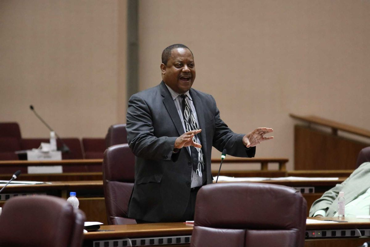 Ald. Roderick Sawyer at the July 21, 2021 Chicago City Council meeting, speaking in favor of civilian oversight of the Chicago Police Department.