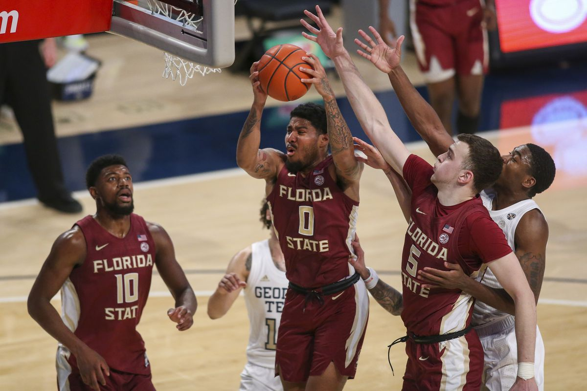Florida State Seminoles guard Rayquan Evans grabs a rebound against the Georgia Tech Yellow Jackets in the first half at McCamish Pavilion.