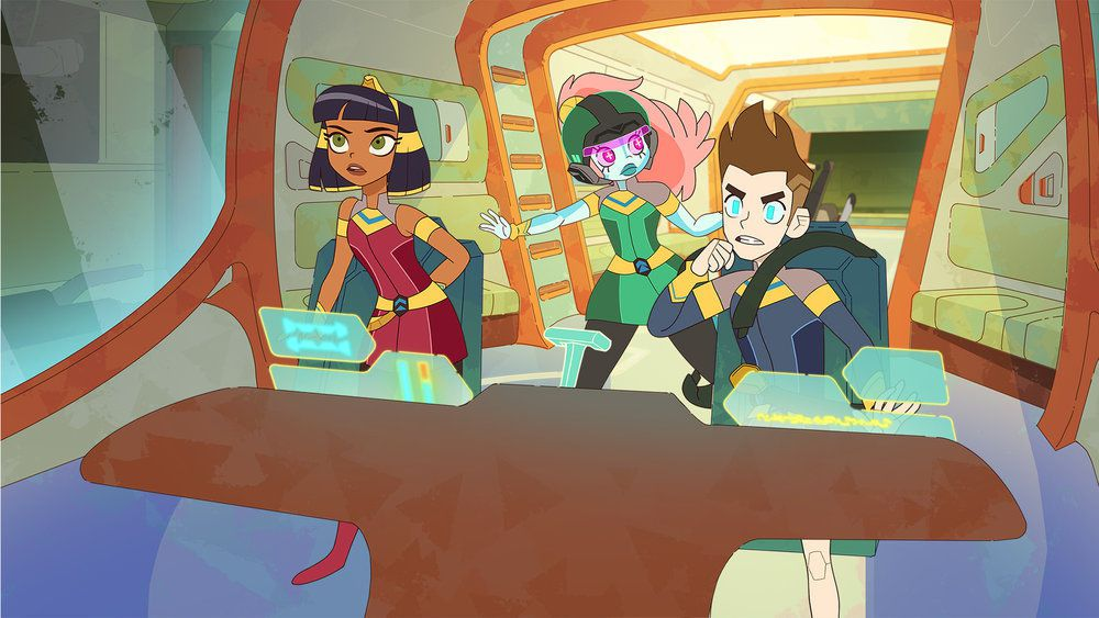 cleo, akila, and brian at the control panel of a ship
