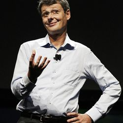 Thorsten Heins, President and CEO of Research in Motion, speaks about the new BlackBerry 10 at the BlackBerry Jam Americas conference in San Jose, Calif., Tuesday, Sept. 25, 2012. (AP Photo/Eric Risberg)