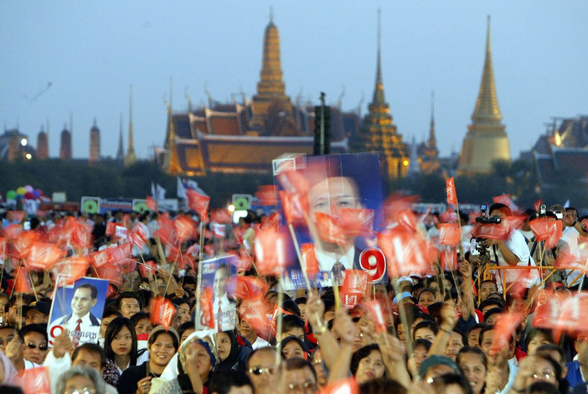 Supporters of Thai Prime Minister Thaksin Shinawatra rally in 2005 (SAEED KHAN/AFP/Getty)