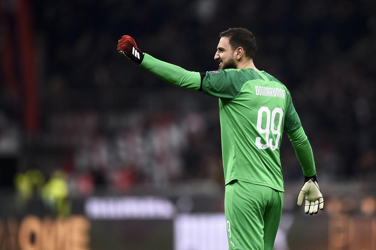 Gianluigi Donnarumma of AC Milan celebrates during the Coppa...