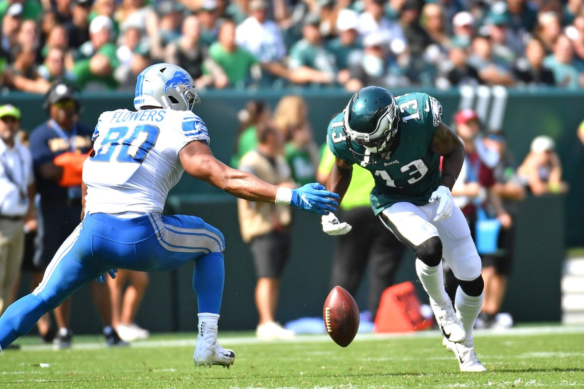 Philadelphia Eagles wide receiver Nelson Agholor fumbles the football during the second quarter against the Detroit Lions at Lincoln Financial Field.