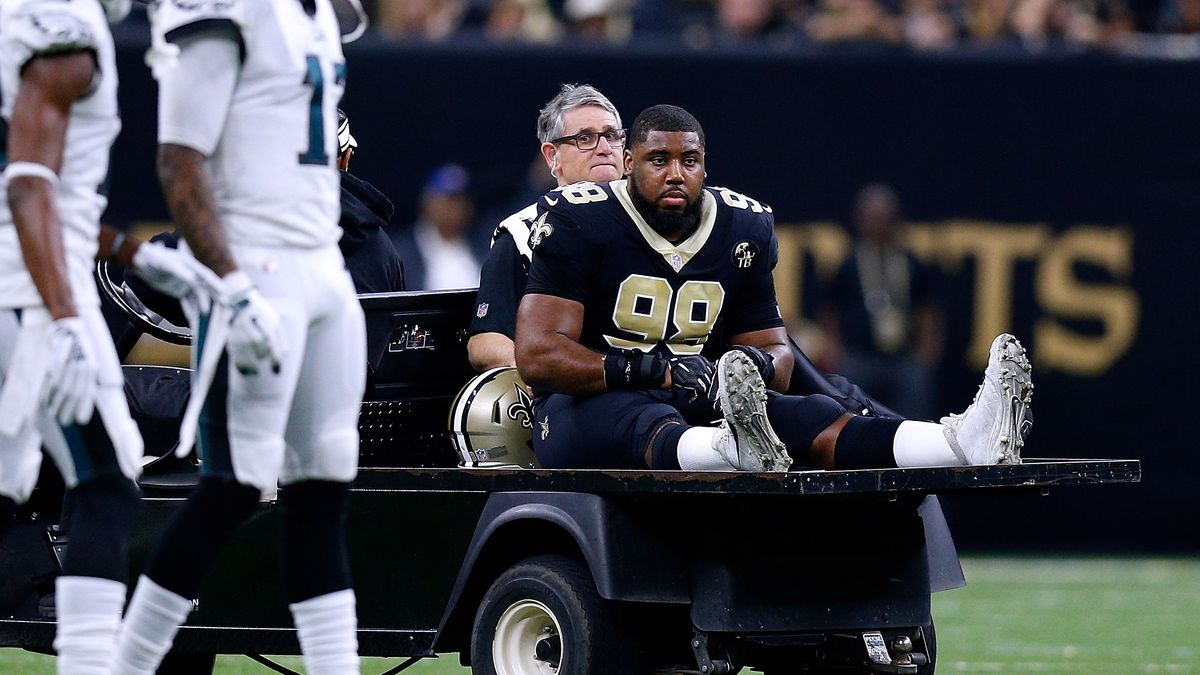 New Orleans Saints DT Sheldon Rankins is carted off the field after an injury during the NFC Divisional Playoff against the Philadelphia Eagles, Jan. 13, 2019.