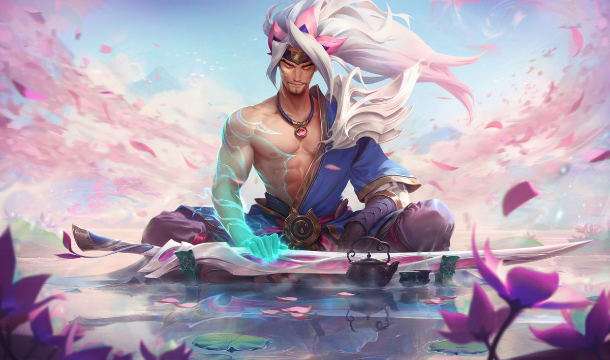 Spirit Blossom Yasuo rests on a pool of water