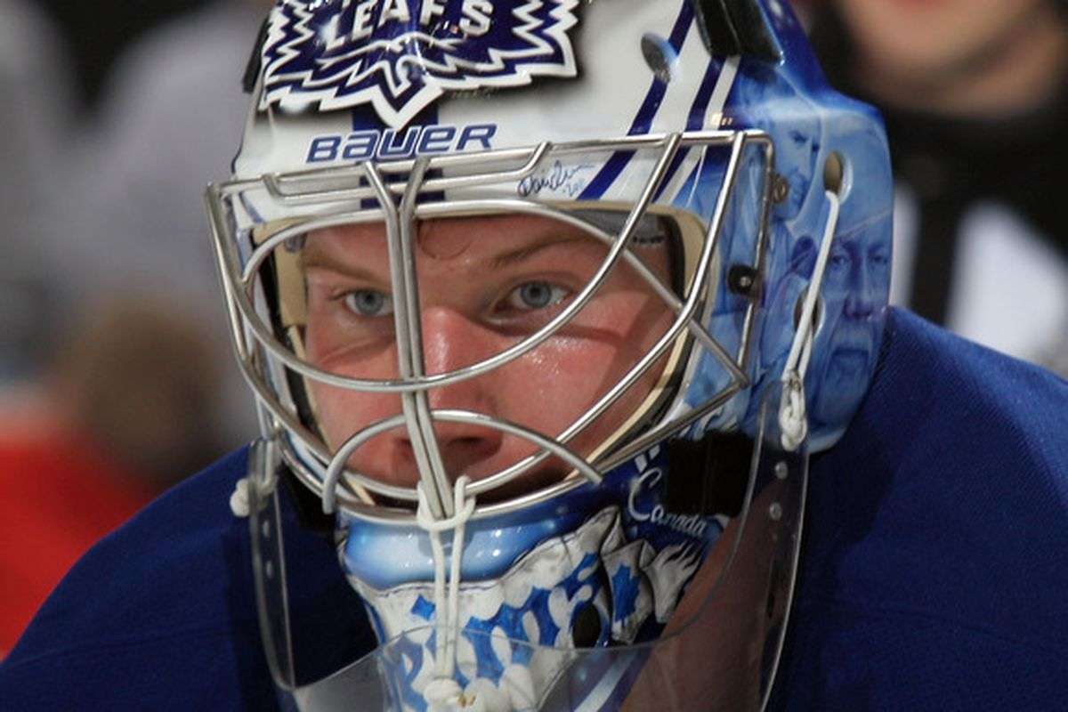 NEWARK, NJ - APRIL 06: James Reimer has traded in one Maple Leaf for another as the IIHF World Championships begin today in Slovakia.(Photo by Bruce Bennett/Getty Images)