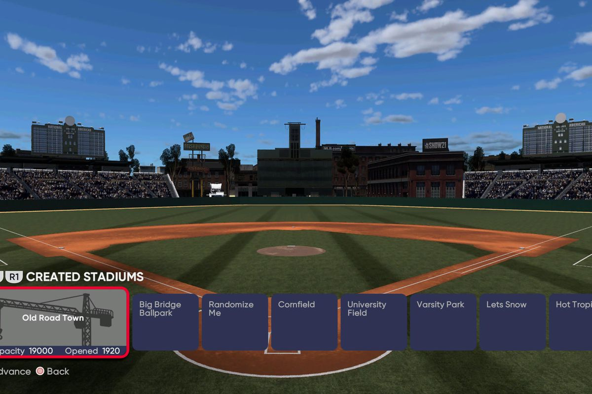 """Menu screen showing a view of the fictional """"Old Road Town"""" baseball park in MLB The Show 21"""