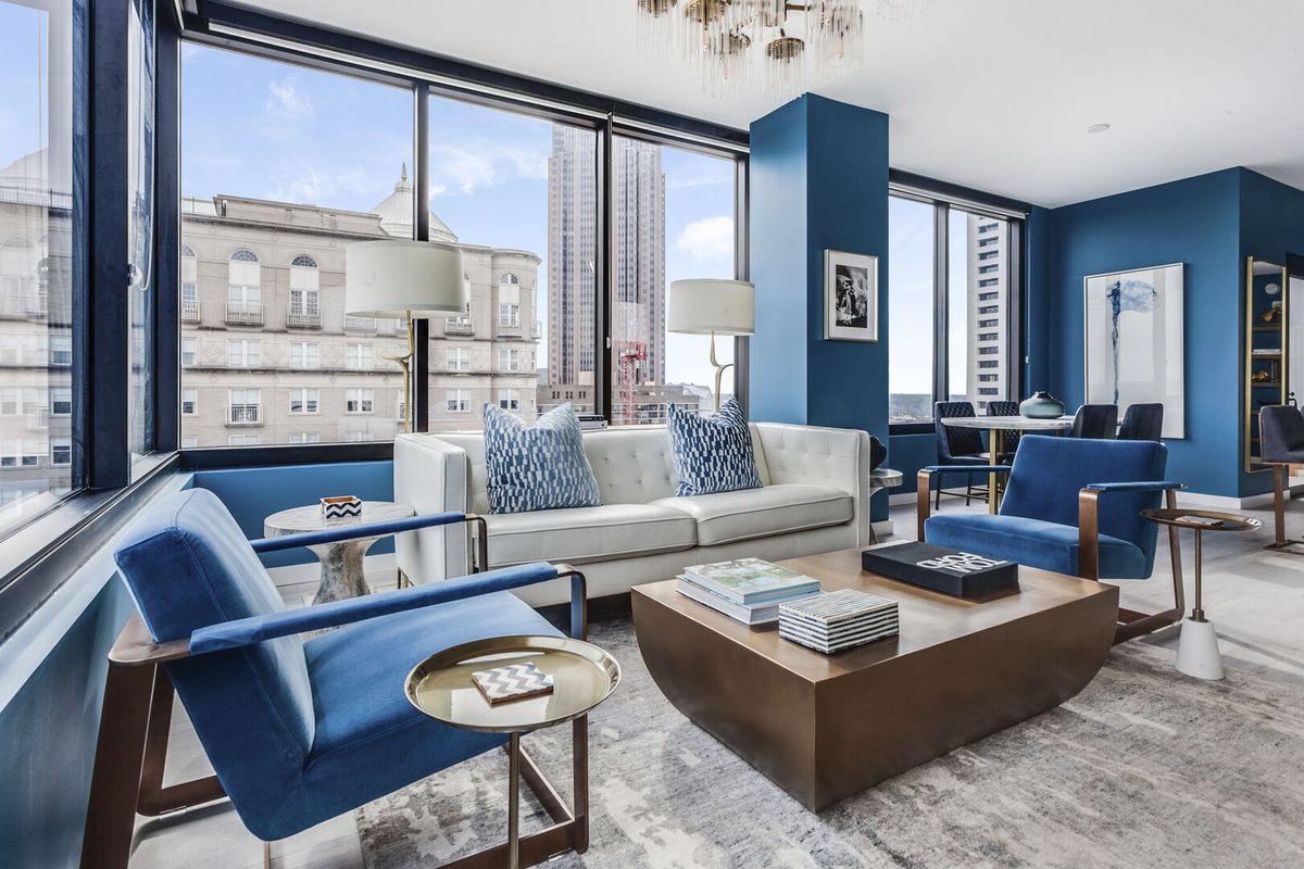 A blue apartment.