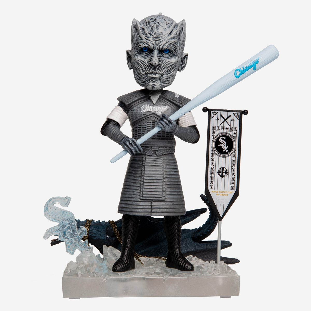 The White Sox/Night King bobblehead doll featured in a new series of bobbleheads available now for pre-order from FOCO.   Copyright HBO