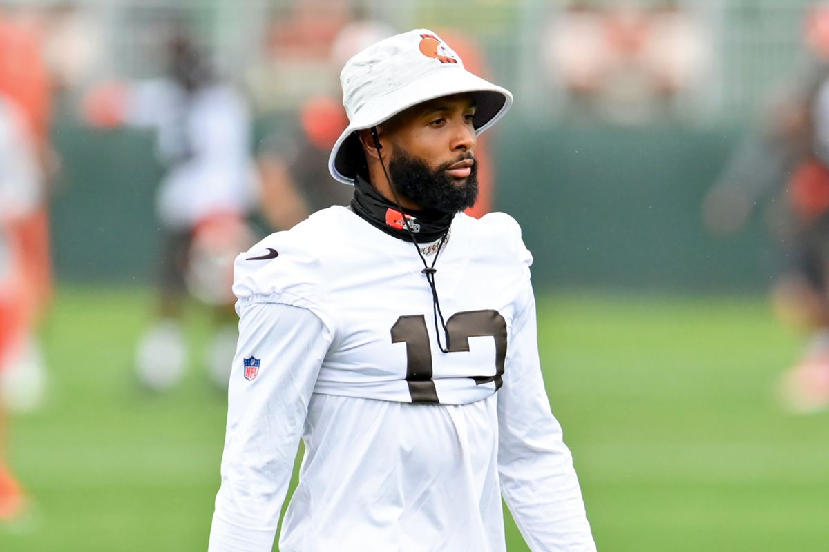Wide receiver Odell Beckham Jr. #13 of the Cleveland Browns walks to the field during the second day of Cleveland Browns Training Camp on July 29, 2021 in Berea, Ohio.
