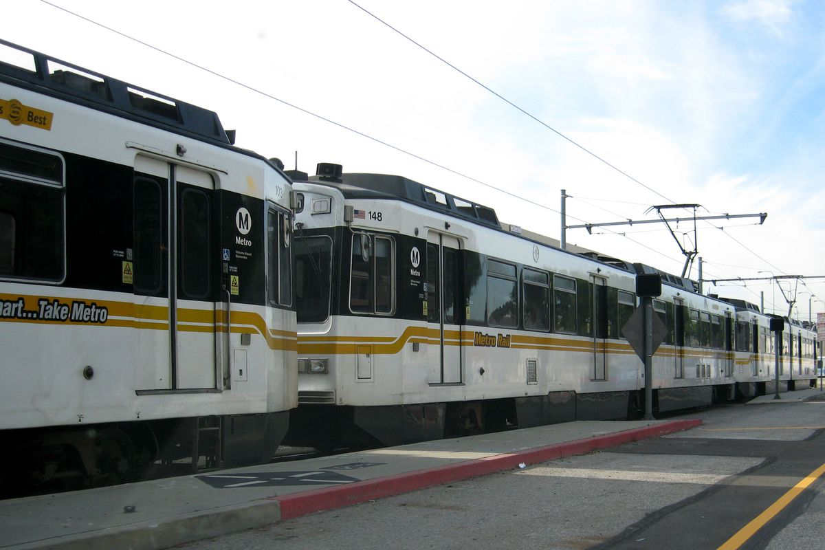 View of old Blue Line cars