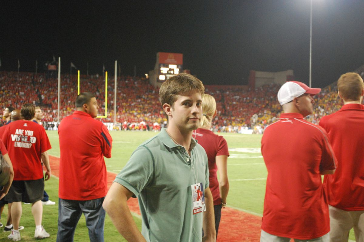 "Cory Williams of SB Nation Arizona ""enjoying"" the final plays of Arizona's thrilling 34-27 victory over Iowa on Saturday night in Tucson. (Matt Levine, SB Nation Arizona)"