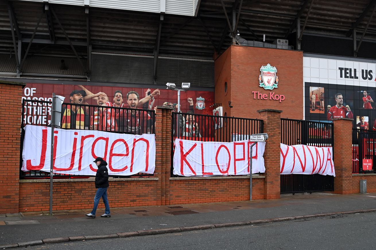 Fans Leave Messages Of Support For Jurgen Klopp Outside Anfield