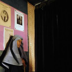 """Andrew Renstrom waits patiently backstage for his cue during """"The Best Christmas Pageant Ever"""" at the Valley Center Playhouse in Lindon on Thursday, Dec. 12, 2013. Owners Keith and Jody Renstrom are closing the playhouse on Dec. 21 after 38 years of community theater."""