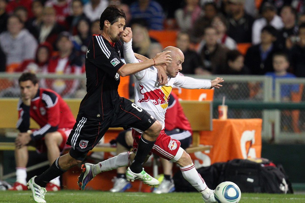 WASHINGTON, DC - APRIL 21: Luke Rodgers #9 of the New York Red Bulls controls the ball against Branko Boskovic #8 of D.C. United at RFK Stadium on April 21, 2011 in Washington, DC. (Photo by Ned Dishman/Getty Images)