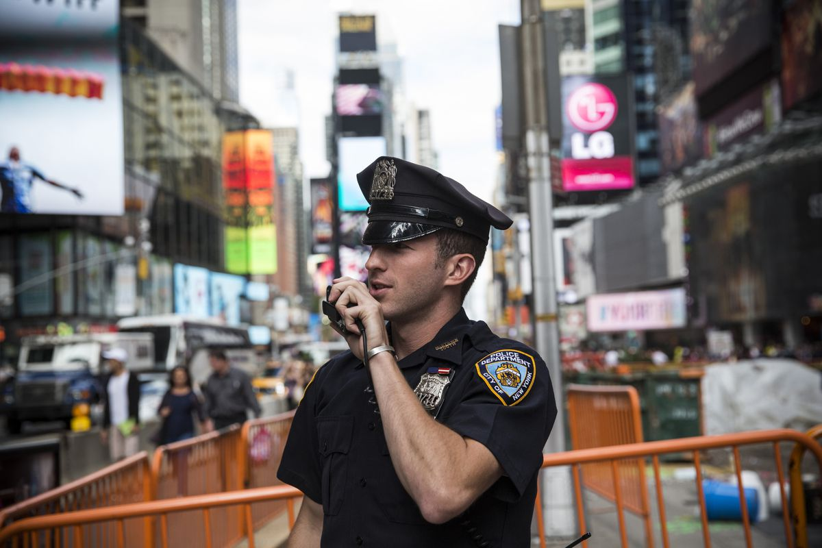 A New York City police officer at Times Square.